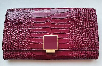 Authentic Smythson Of Bond Street Long Wallet Wine Colour With Crocodile Print • 99.99£
