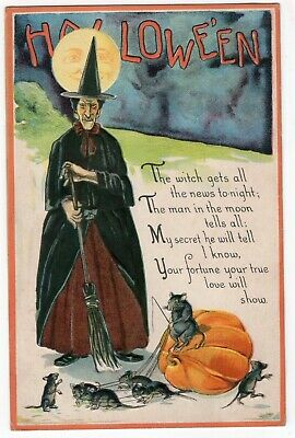 $ CDN113.09 • Buy HALLOWEEN POSTCARD PUBLISHED BY NASH, SERES H-46, WITCH, JOLs, MOON. 1926