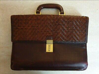 Vintage Bally Brown Leather Business Document Briefcase Laptop Bag • 50£