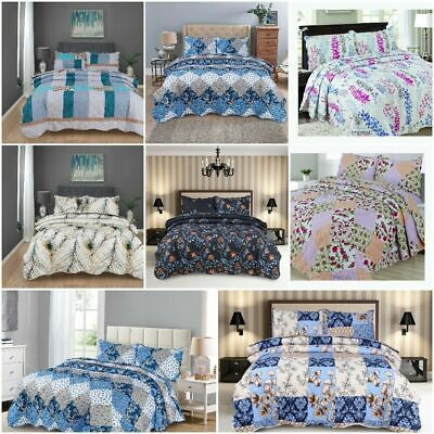 £23.99 • Buy 3 Pcs Quilted Bedspread Embossed Comforter Set Single Double King Size Bed Throw
