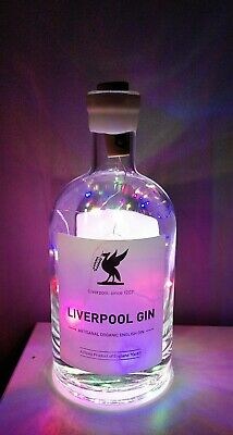 Liverpool  Gin Bottle With Multi Coloured Lights. Display Lamp Mancave/ Bar Idea • 7£