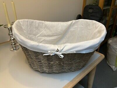 £9.99 • Buy Oval Wicker Basket With Cotton Liner And Handles Good Condition From John Lewis