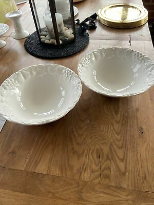 Two Marks And Spencer Large Serving Bowls - White Fruit Embossed • 10.99£