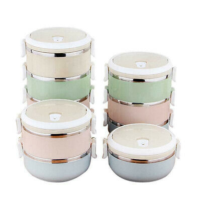AU19.77 • Buy 1pcs 1/2/3/4 Layer Thermo Insulated Thermal Food-Container Bento Round Lunch Box