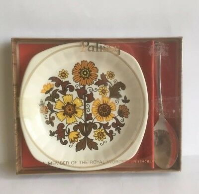 Royal Worcester Sunflower Pin Dish & Firth Steel Spoon Boxed Gift Set - Palissy • 4.50£