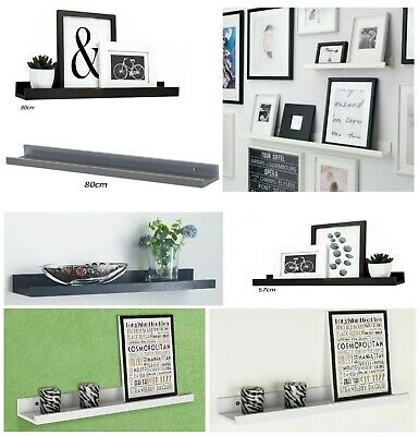 Wooden Floating Shelf Shelves Kit Wall Mounted Display Unit Home Office Decor • 10.95£