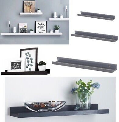 Set Of 2 Floating Wall Shelves Picture Ledge Display Rack Book Hanging Shelf New • 19.95£