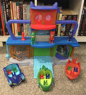 Pj Masks Headquarters Play Set Gekko Owlette Catboy Figures With Vehicles L@@k • 14.50£