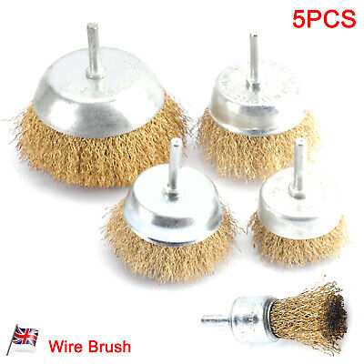 5 Pack Brass Wire Brush New Cup Drill Attachments Edges Rust Removal UK • 8.19£