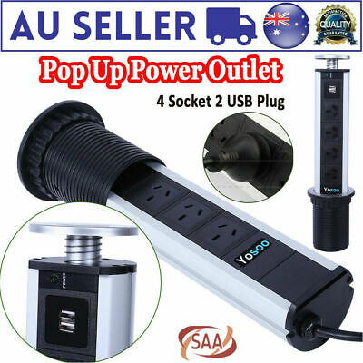 AU29.99 • Buy Up Power Point 2 USB 4 Plug Outlet Socket Pull For Home Kitchen Unit Worktop