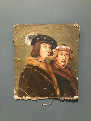 Antique Original Unframed Portrat Male & Female Oil Painting On Canvas.... • 8.50£