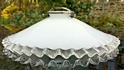 Vintage FRILLY Glass LIGHT SHADE OPALINE COOLIE PENDANT & GALLERY LAMP French  • 27.99£