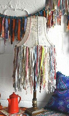 Unique Handmade Granny Chic Recycled Vintage Lace Fabric Lampshade Rag Fringe • 180£