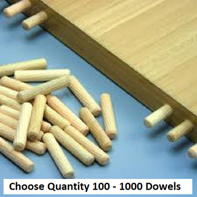 8mm X 40mm Hardwood Wooden Dowels Chamfered Fluted Pin Wood Ikea 1 To 1000 • 0.99£