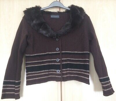Alex & Co. Brown Cardigan With Fur Neckline. Brown Wool Cardigan. Size 10 • 10£