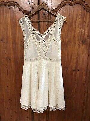 $ CDN74 • Buy NEW $168 FREE PEOPLE EMBROIDERED LACE LOTTIE DRESS IVORY White Anthropologie 12