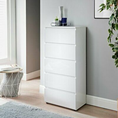 £99.99 • Buy Norsk Gloss White 5 Chest Of Drawer Bedroom Furniture