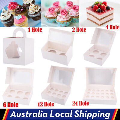 AU11.98 • Buy 1/2/4/6/12/24 Holes 5-100x Cupcake Box Window Face Cake Boards Cupcake Boxes AU