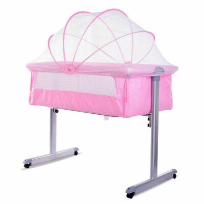 Pink Side Sleeping Bedside Crib Baby Girls Cot Bed With Washable Mattress • 59.99£