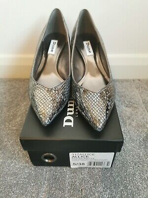 DUNE Allice Shoes Pewter/Reptile Size 5 • 15£