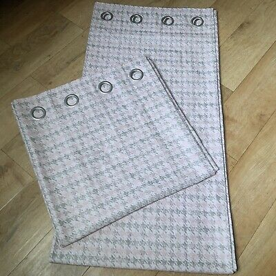 NEXT GREY/PINK GEO EYELET LINED CURTAINS SIZE 117 X 229cm BRAND NEW • 45.99£