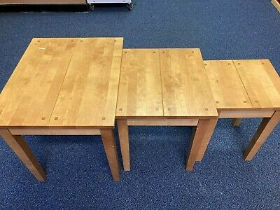 Next Oak Nest Of 3 Wooden Tables  WC • 13.50£