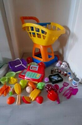 £7.50 • Buy Play Trolley, Working Calculator Till, Play Money, Food And Accessories Bundle