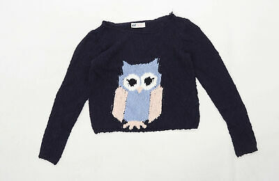 H&M Girls Graphic Blue Owl Jumper Age 11-12 Years • 5£