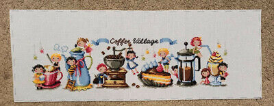 Handmade Cross Stitch Finished Embroidery - Coffe Vilage • 29£