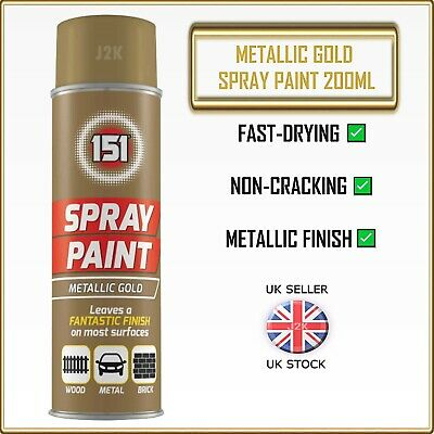 METALLIC GOLD Spray Paint Aerosol Can Wood Metal Plastic Wall Car Graffiti 200ml • 5.89£