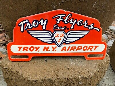 $ CDN150.06 • Buy  TROY FLYERS  HEAVY PORCELAIN LICENSE PLATE TAG TOPPER, (10 X 5 ) NICE CONDITION