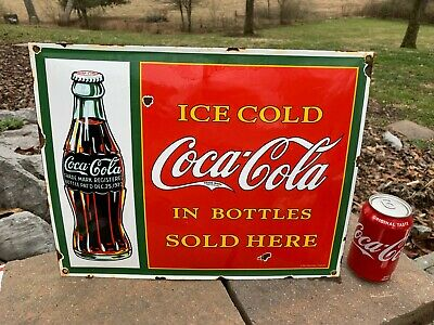 $ CDN7.67 • Buy OLD 'COCA COLA W/BOTTLE  HEAVY PORCELAIN ADVERTISING SIGN (16 X 13 ) NICE SIGN