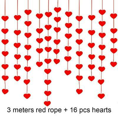 16Pcs Red Love Heart Hanging Party Decorations Engagement Wedding S0F3 • 2.40£
