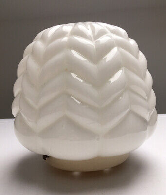 Stunning Opaline Glass 40s 50's Rippled Lamp Shade & Gallery Art Deco Vintage • 65£