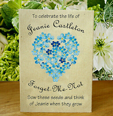 £5.95 • Buy 12 Packets Of Personalised Forget Me Not Funeral Seed Gift Remembrance Favour