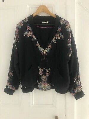 Lily And Lionel Silk Printed Black Bomber Jacket, Small • 65£
