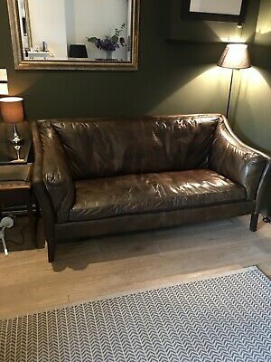 Halo 3 Seater Barker And Stonehouse 'reggio' Sofa Medium Dark Brown - Vintage, • 500£