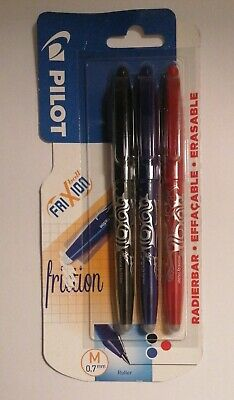 New Pilot Frixion Erasable Ball Pens 3 Pack Red, Blue & Black Ink • 4.10£