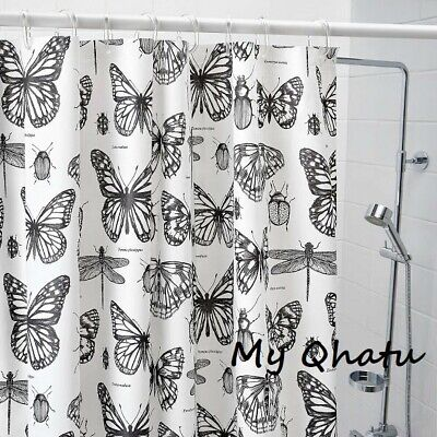 £10.36 • Buy IKEA SOMMARMALVA Shower Curtain White Gray Butterfly Water-Repellent 71 X 71