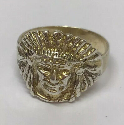 """£30 • Buy Vintage Silver """"Indian Head"""" Ring Plus Size 'U' Native American Hand Crafted"""
