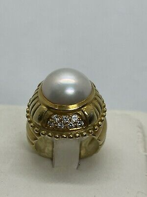 $1380 • Buy Vintage 18k Yellow Gold 12.5mm Mabe Pearl Diamond Ring 15.6g Heavy Etruscan 4.75