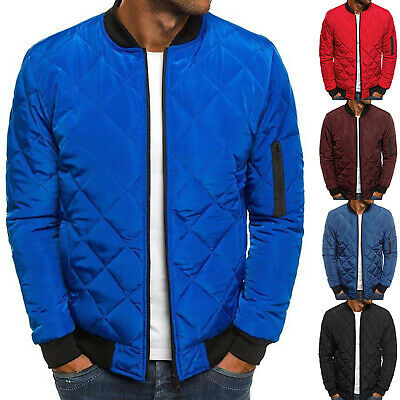 $47.02 • Buy Mens Padded Quilted Bomber Jacket Coat Casual Zip Up Winter Warm Flight Outwear