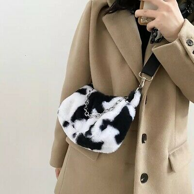 Cow Print Faux Fur Sholder Hand Bag Messenger Tote Furry Animal Style New 2021 • 12.99£