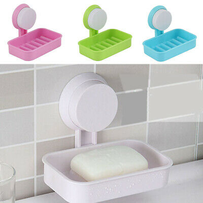 Strong Suction Cup Soap Dish Bathroom Soap Drain Rack Soap Storage Box Holder • 3.99£