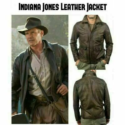 Indiana Jones Harrison Ford Classic Distressed Brown Real Leather Jacket • 71.78£