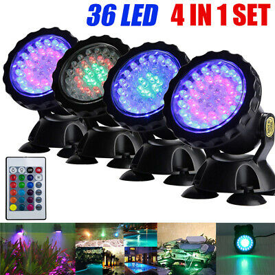 1 Set 4 Lights RGB LED Underwater Spot Light Aquarium Garden Fountain Pond Lamp • 17.44£