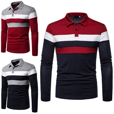 £14.39 • Buy Mens Long Sleeve Polo Shirt Stripe Print Buttons Business Golf Blouse Tops Tunic