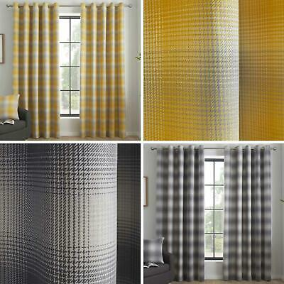 Check Eyelet Curtains Tartan Tweed Ready Made Lined Modern Ring Top Curtain Pair • 37.95£