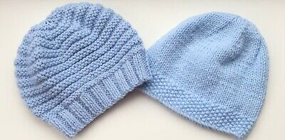 2 New Hand Knitted Hats For A Large Newborn Baby Boy  • 1£