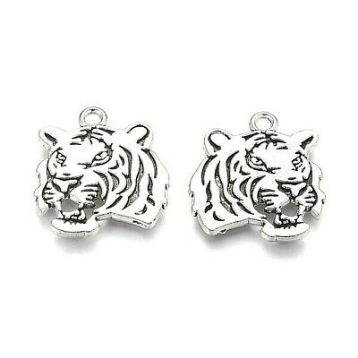 Tiger Face Charms Tibetan Silver Pendant Cat Pack Of 20 • 3.20£